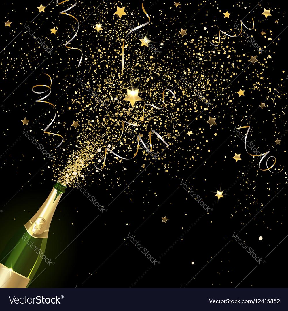 Congratulatory Champagne with Gold Confetti