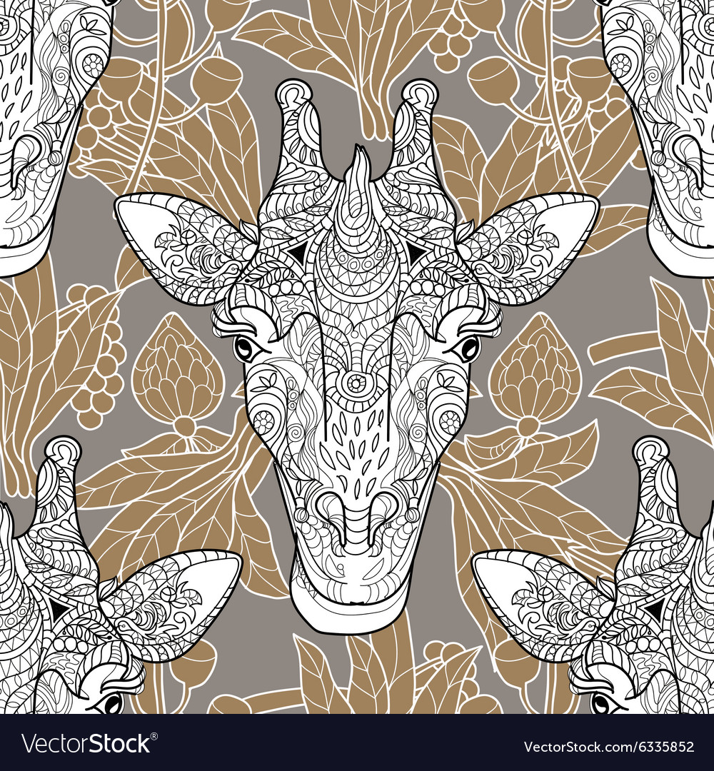 Giraffe head seamless pattern beige background