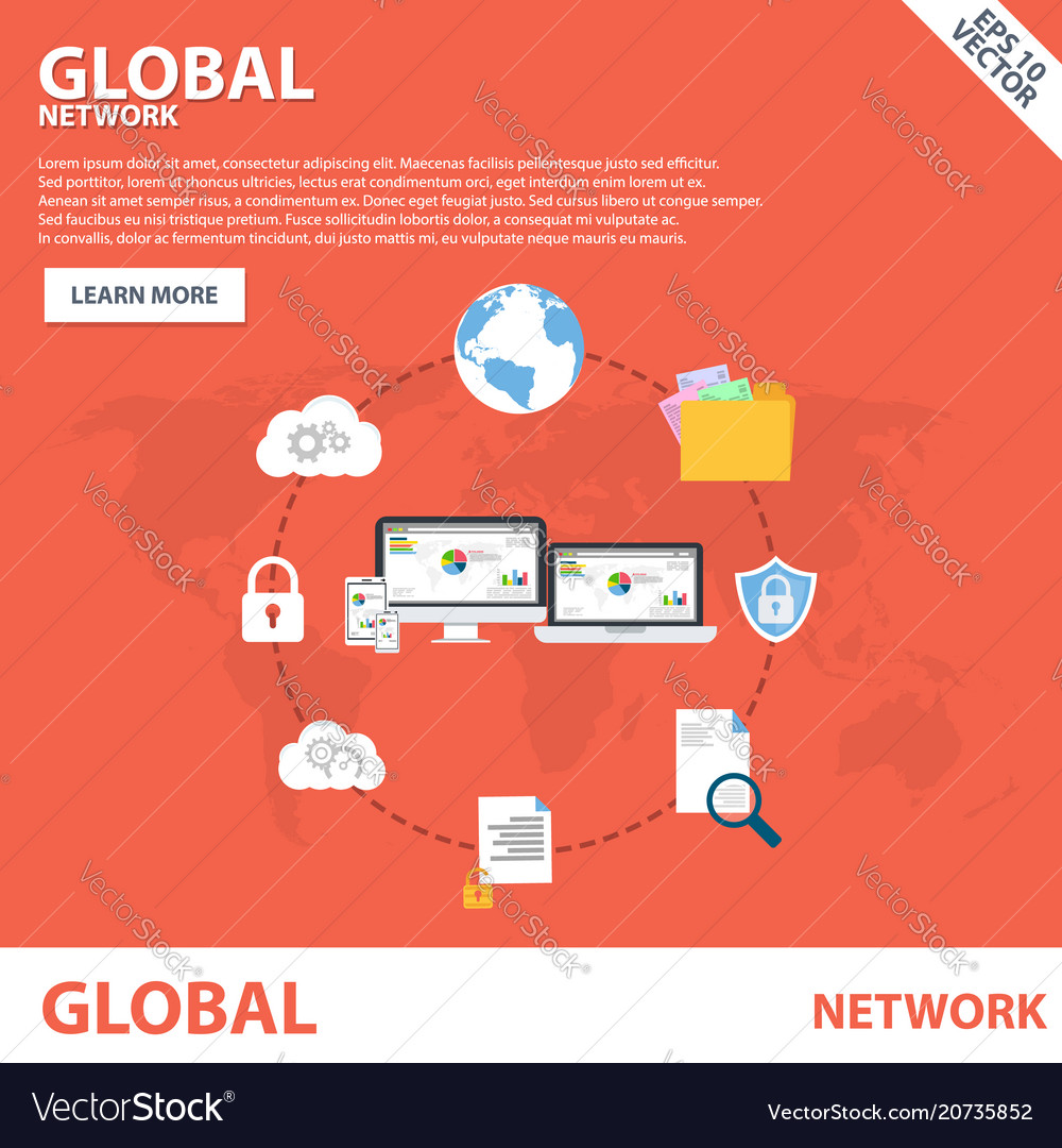 Global network flat icon banner concept template d