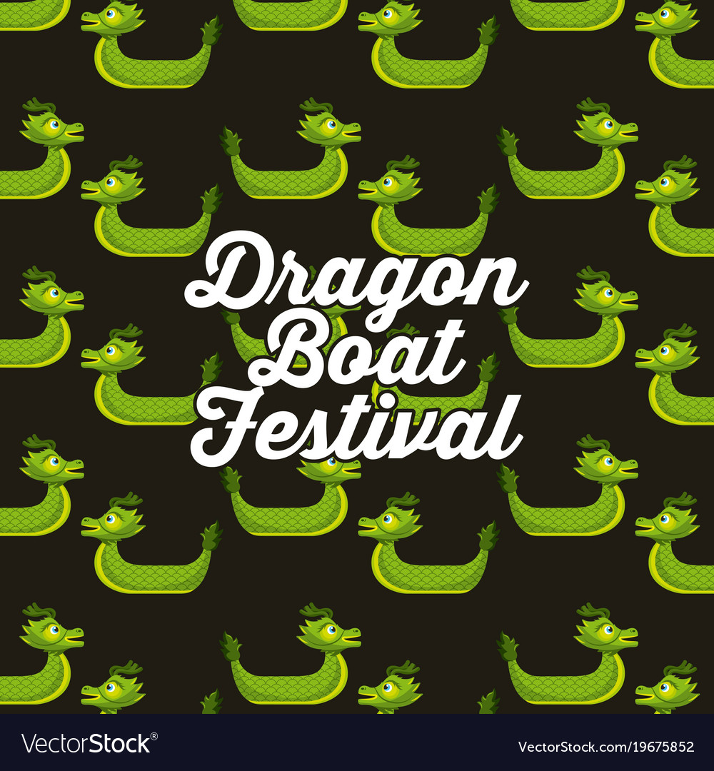 Green dragon boat festival seamless pattern