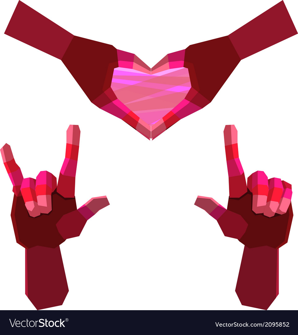 Hand herat and love polygon vector image
