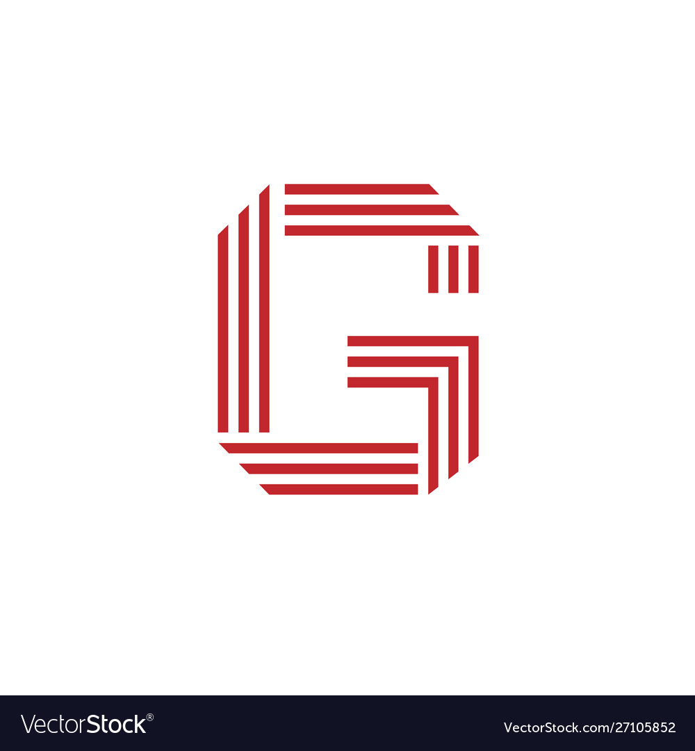 Letter g with geometric three strips logo