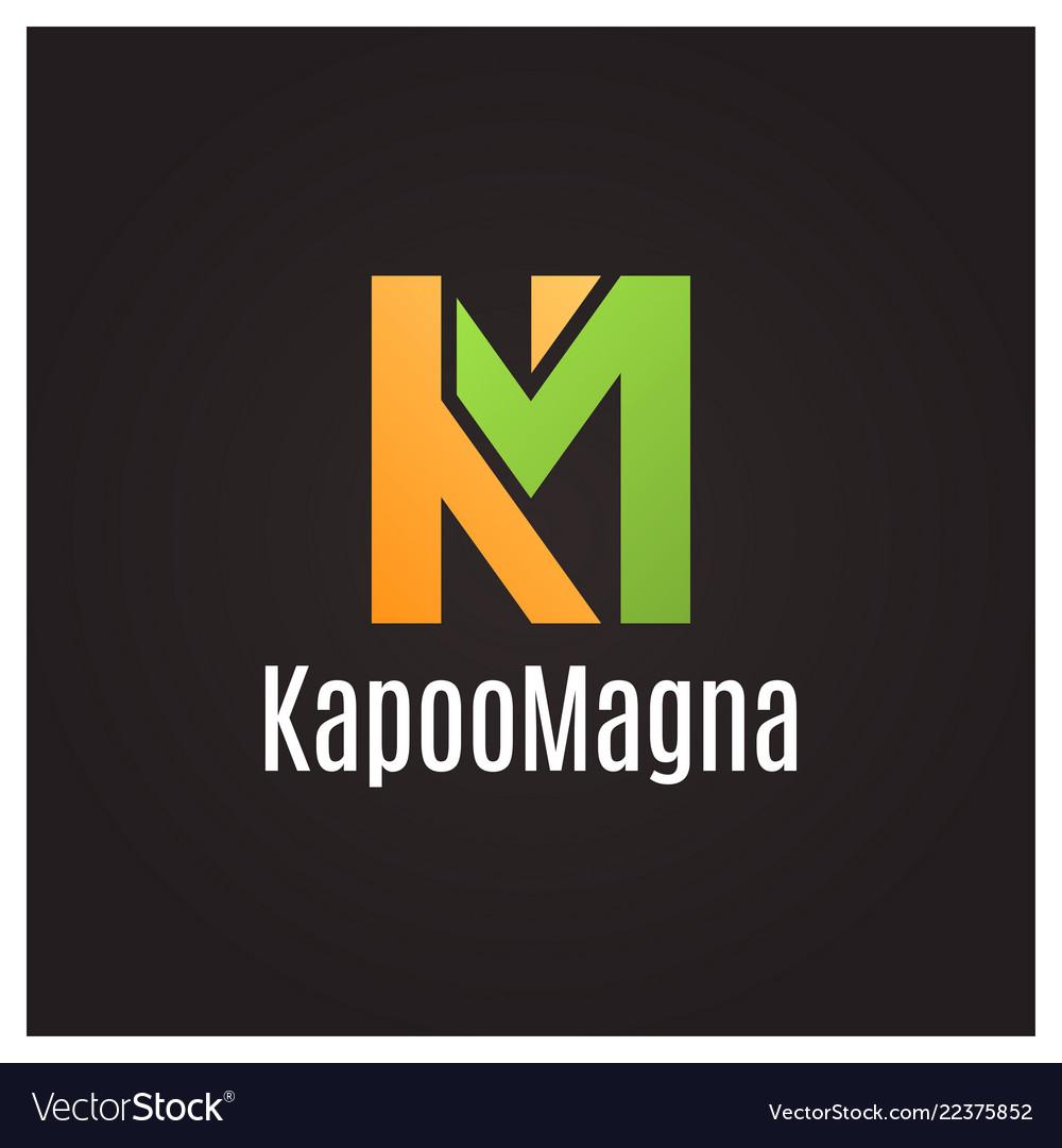 Letter k and letter m logo on black background