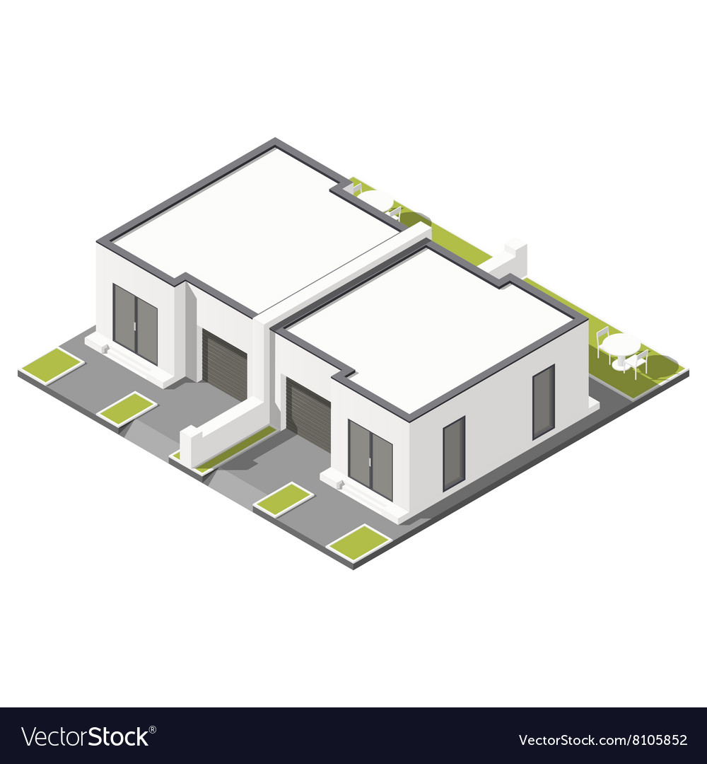 One storey connected cottage with flat roof