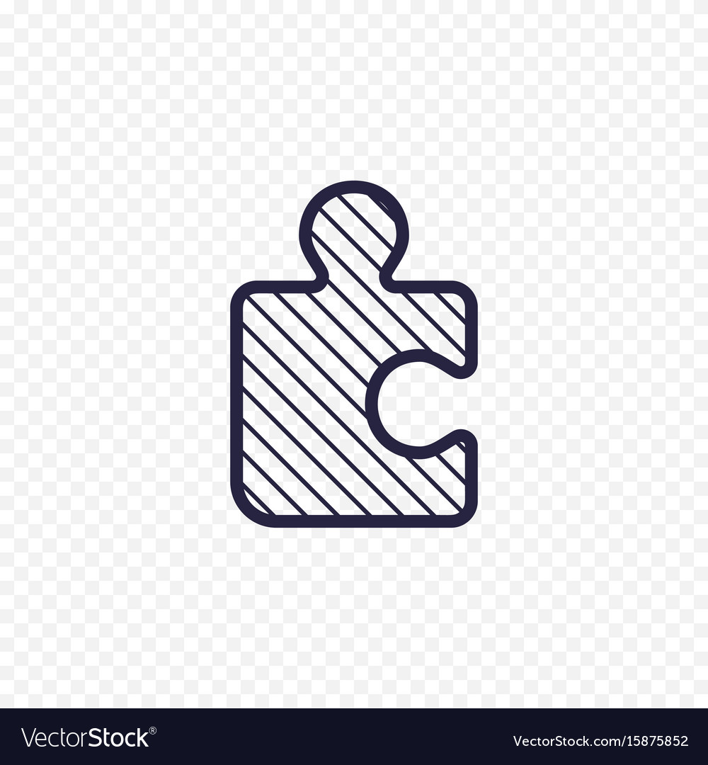 Puzzle game line icon jigsaw piece thin linear