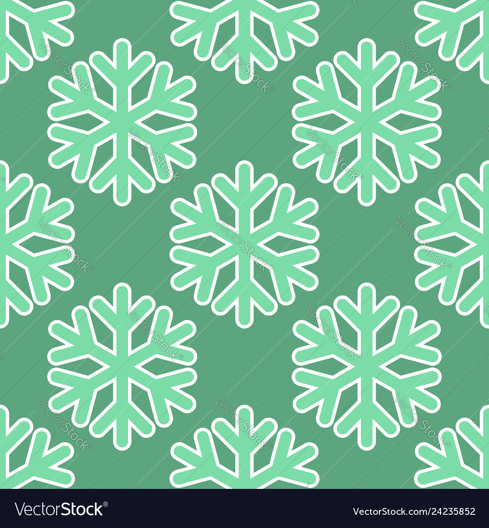 Seamless art pattern with snowflakes on blue green