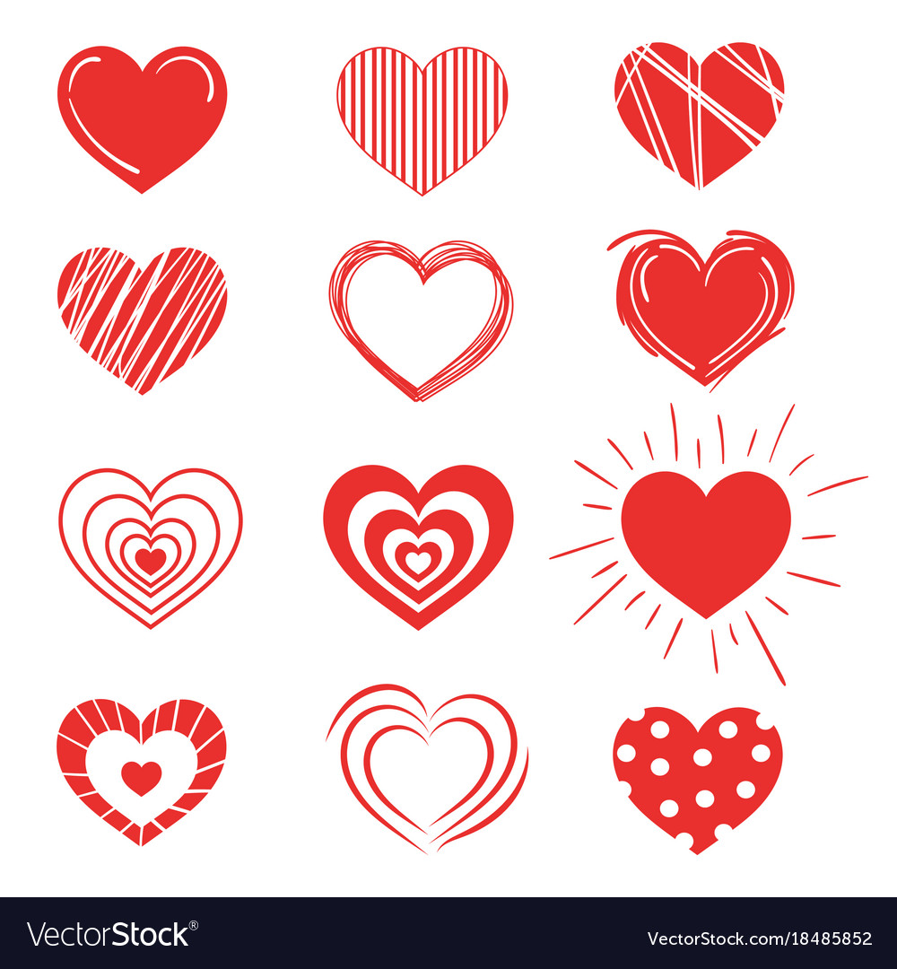 Set of red hearts collection of stylized hearts