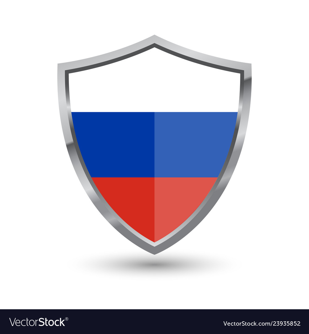 Shield with flag of russian isolated