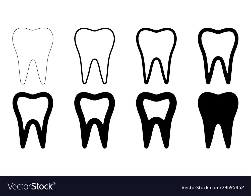 Sign icon tooth shape set teeth