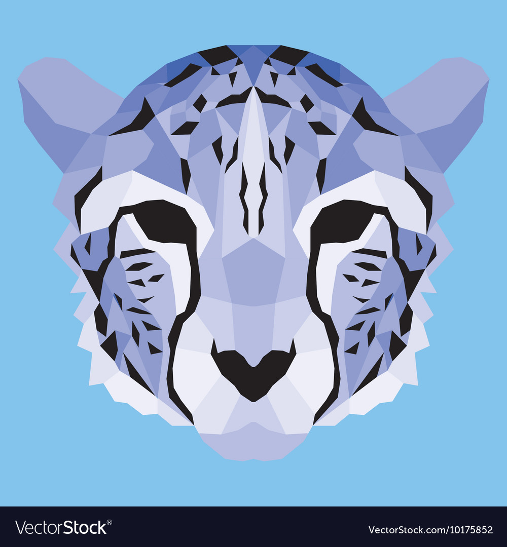 Violet low poly cheetah vector image