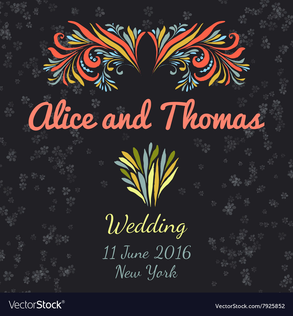 Wedding invitation vertical template with doodle