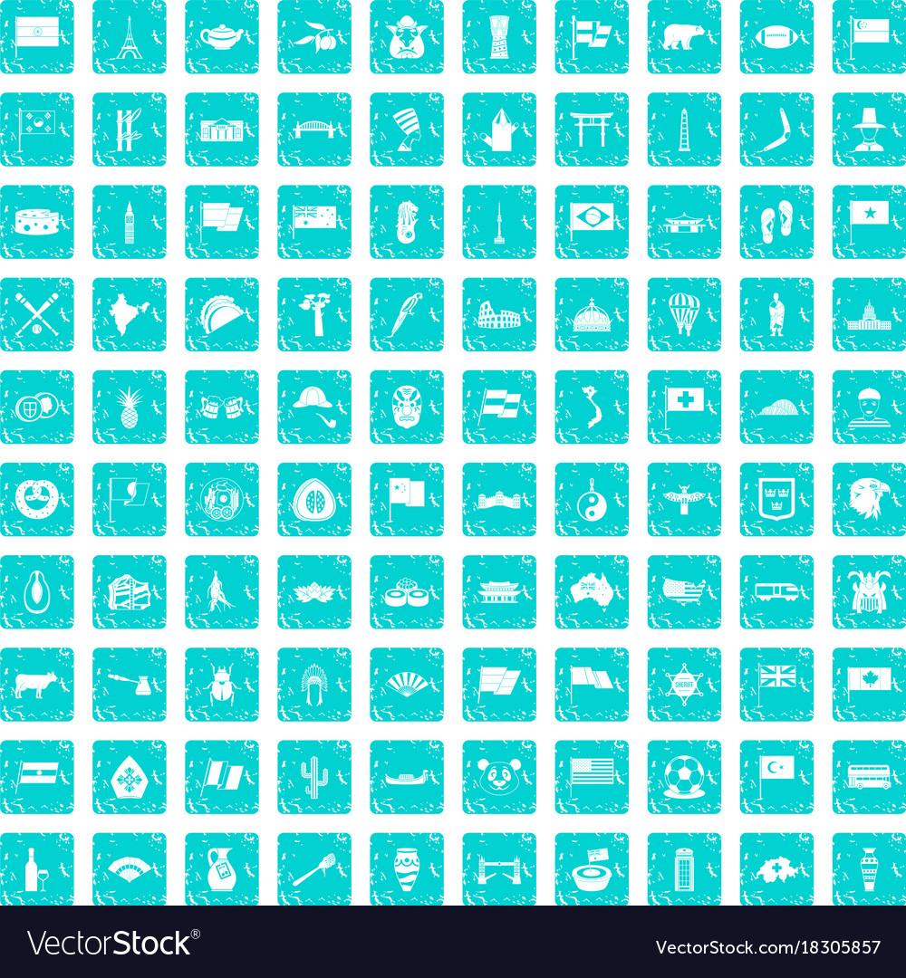 100 national flag icons set grunge blue