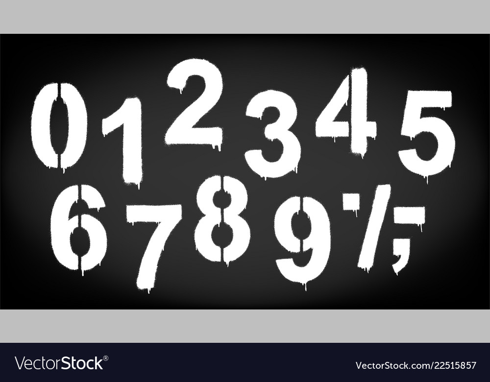 A set of numbers made by the stencil and drips of