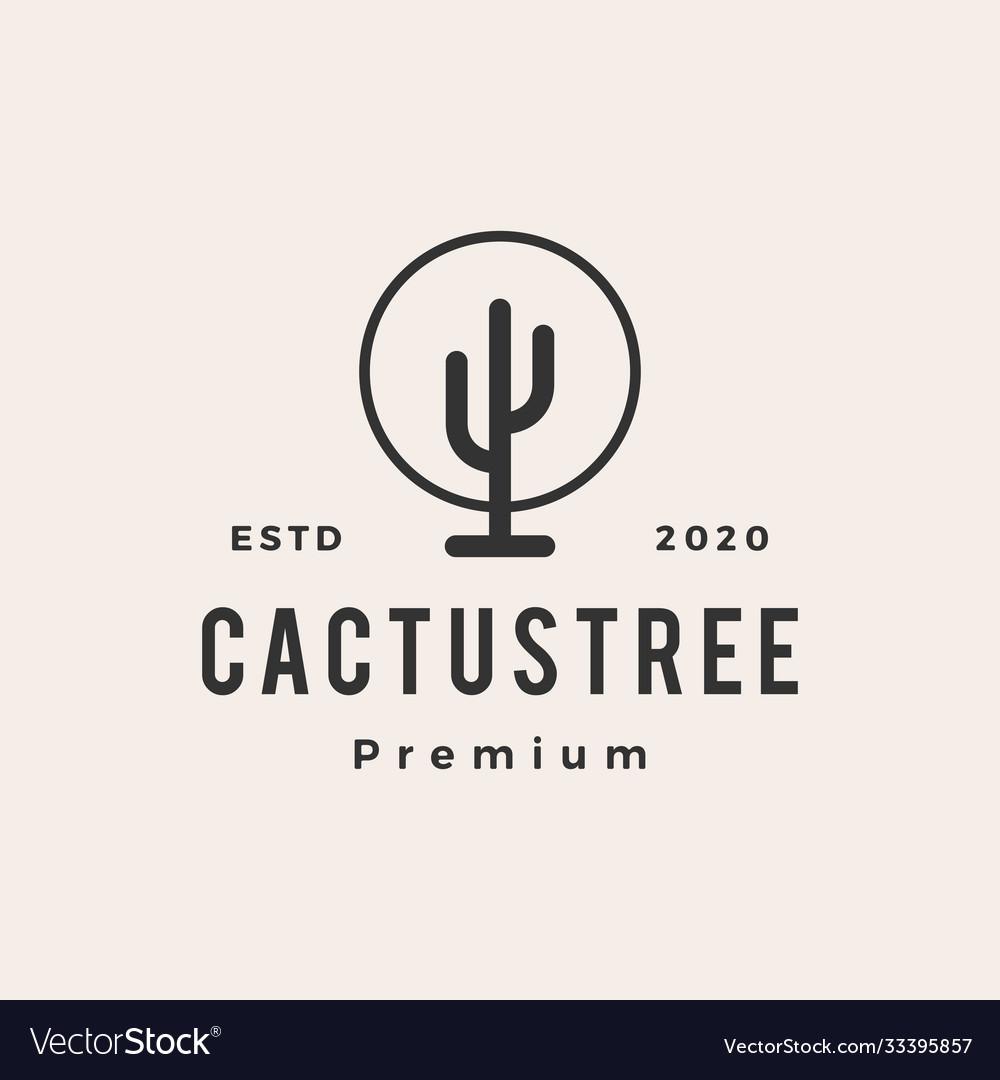 Cactus tree hipster vintage logo icon