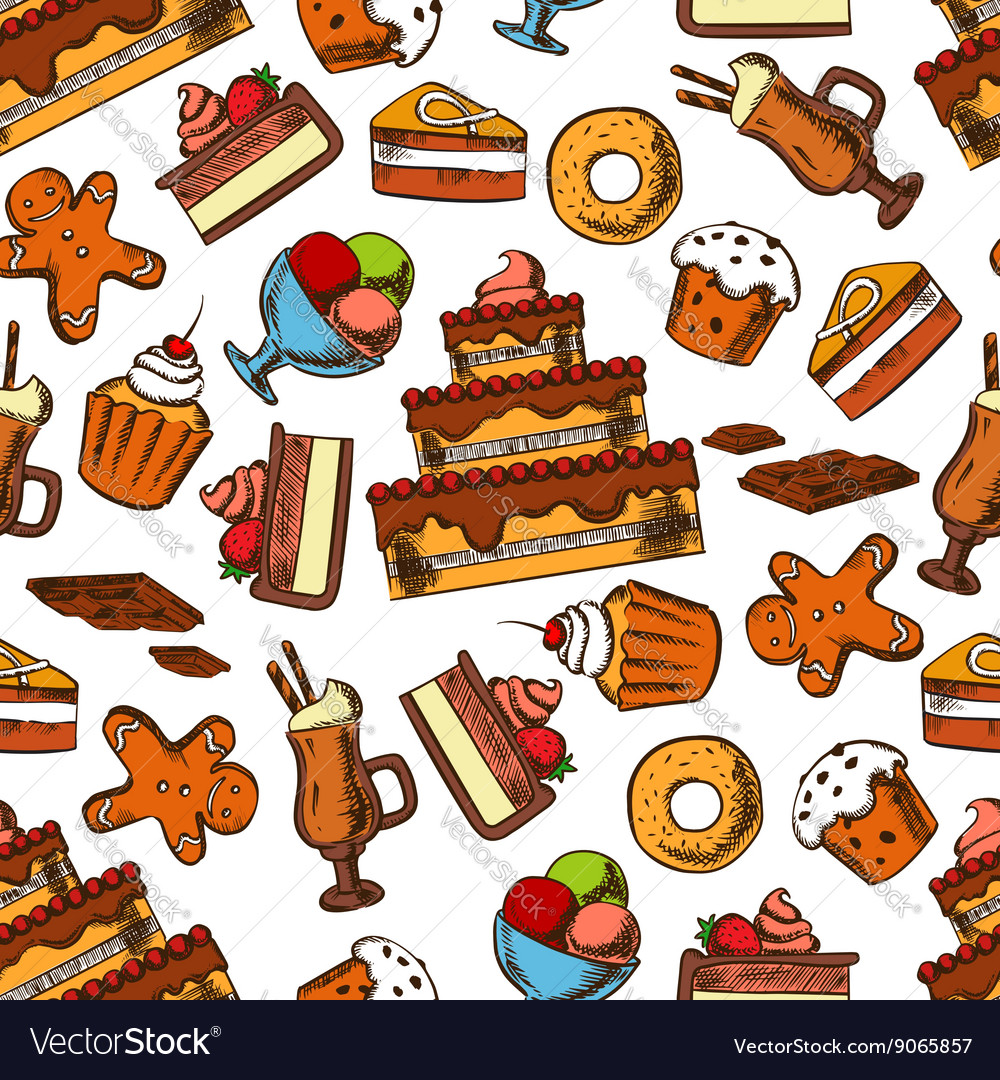 Chocolate desserts and pastries seamless pattern