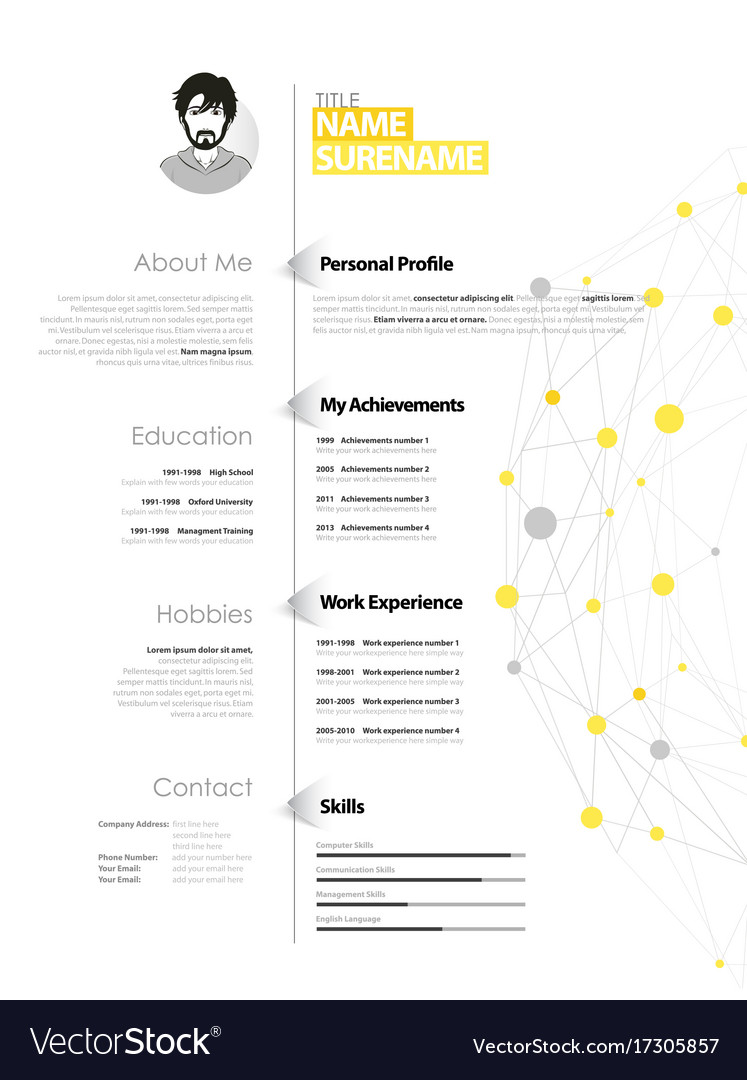 Creative simple cv template with yellow and grey vector image yelopaper Gallery