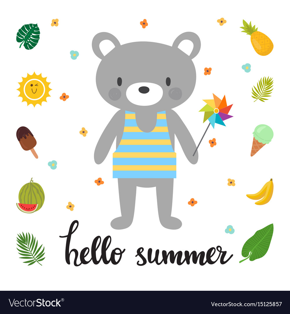 Cute bear with windmill hello summer funny
