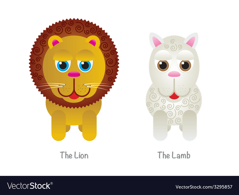 Cute Lion and Lamb