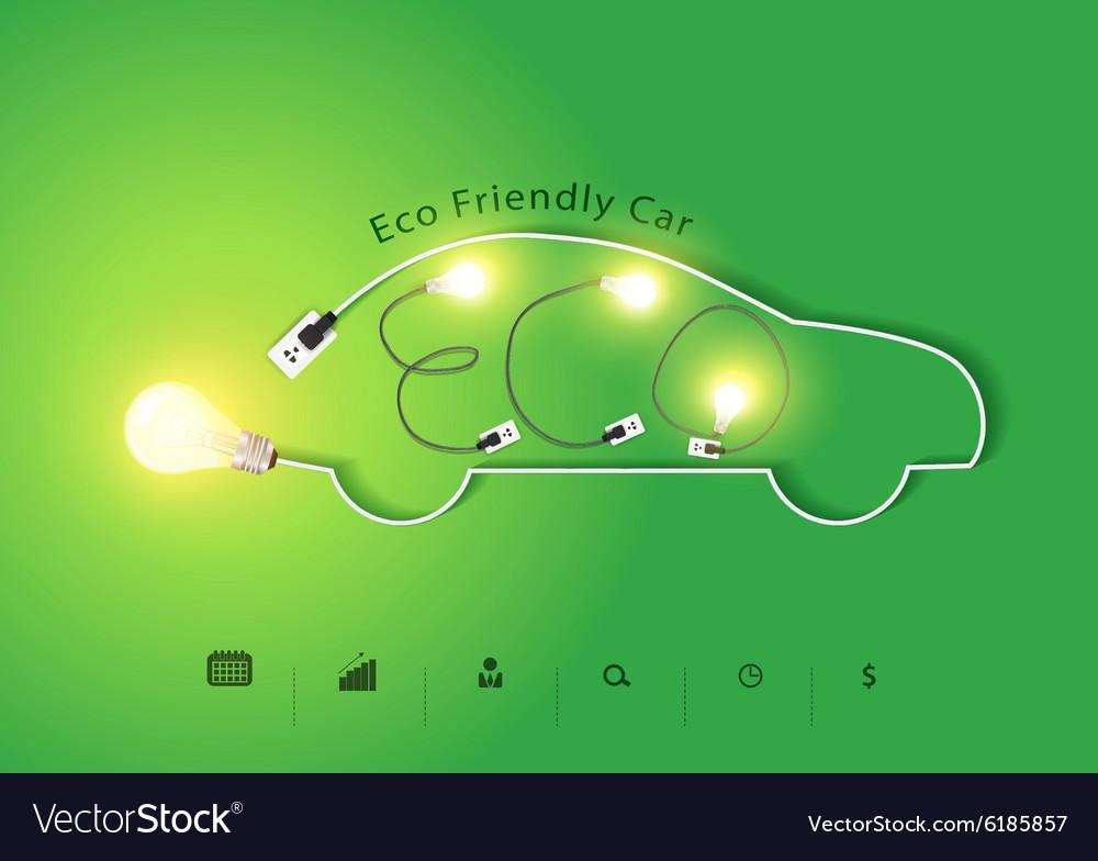 Eco friendly car with creative light bulb ideas