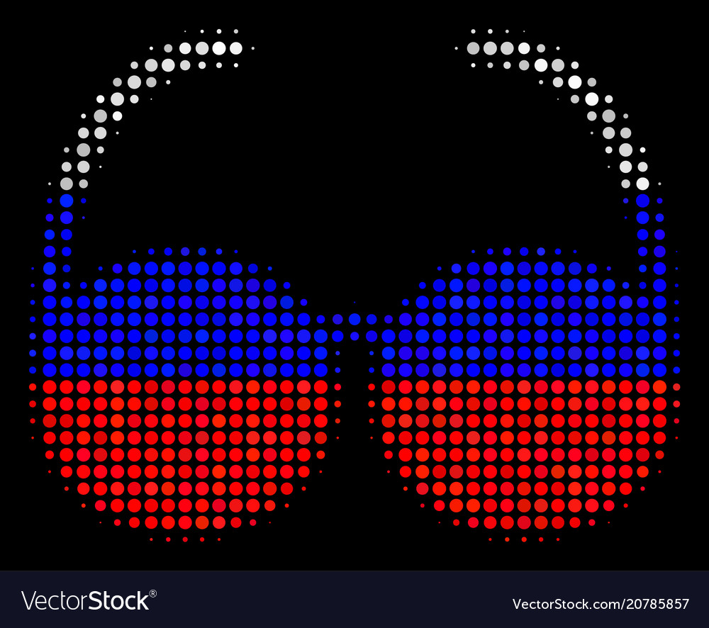 Halftone russian spectacles icon