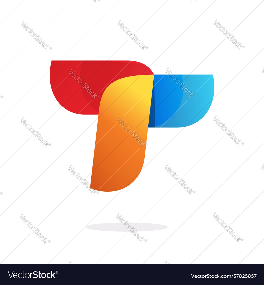 Letter t abstract logo element in red orange blue