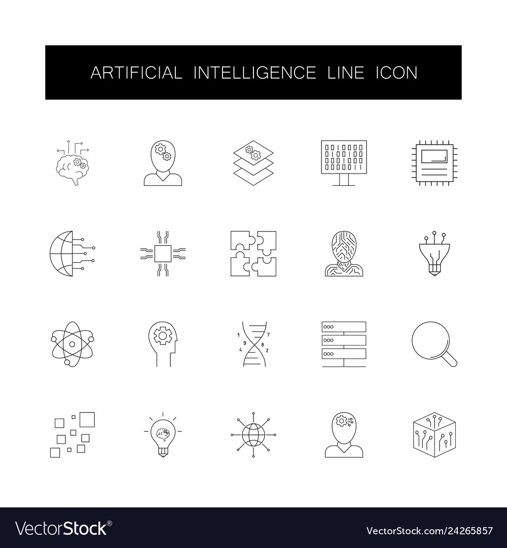 Line icons set artificial intelligence pack