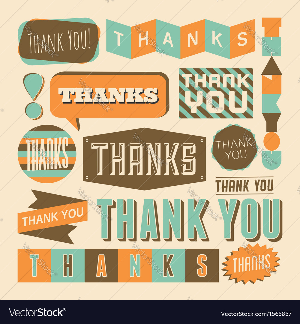 Retro style thank you design elements collection