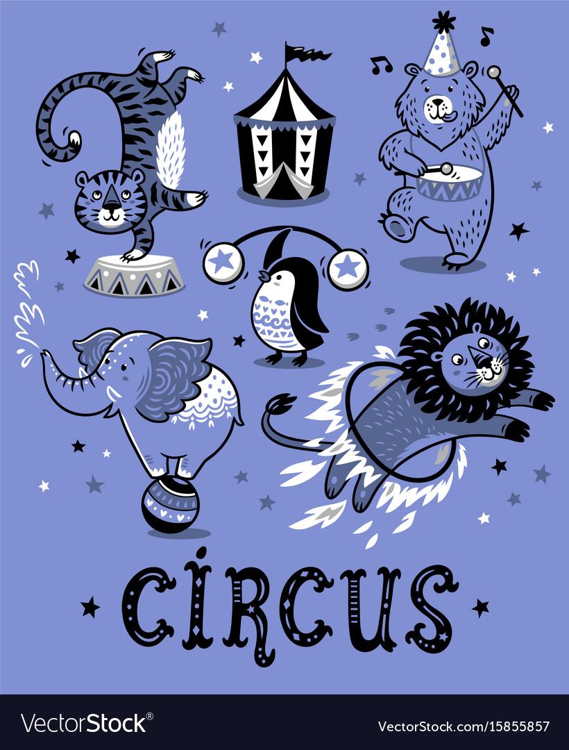 Set circus cartoon animals