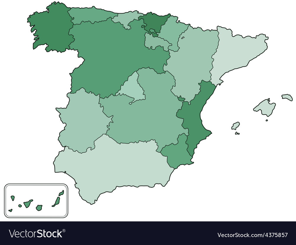 Map Of Spain Vector Free.Spain Contour Map Vector Image