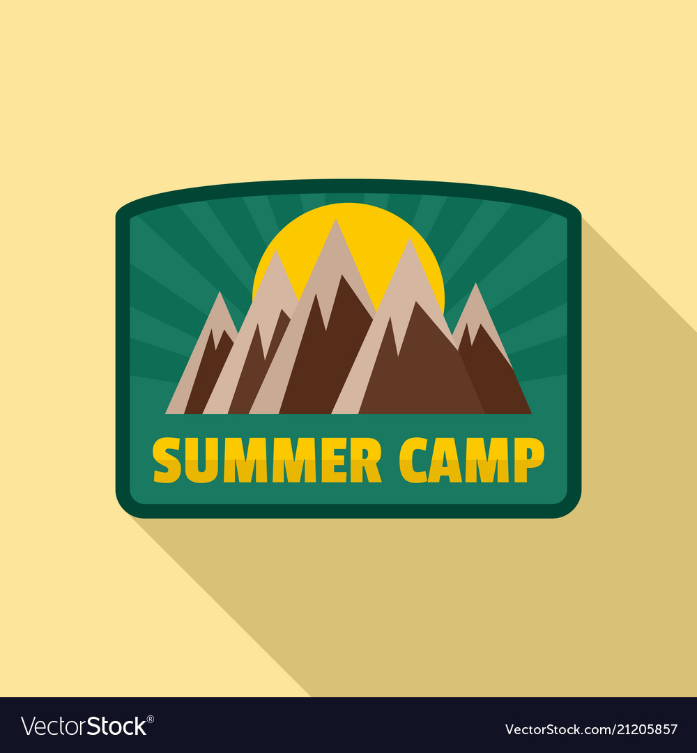 Summer camp logo flat style