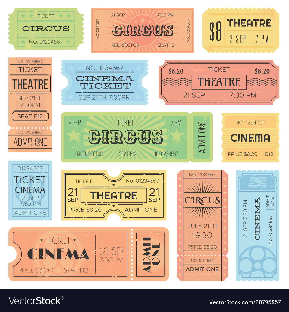 Theater or cinema admit one tickets circus