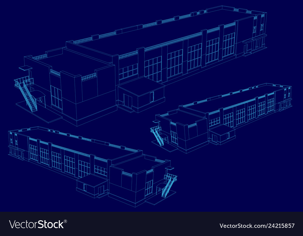 Wireframe of the building in isometric 3d