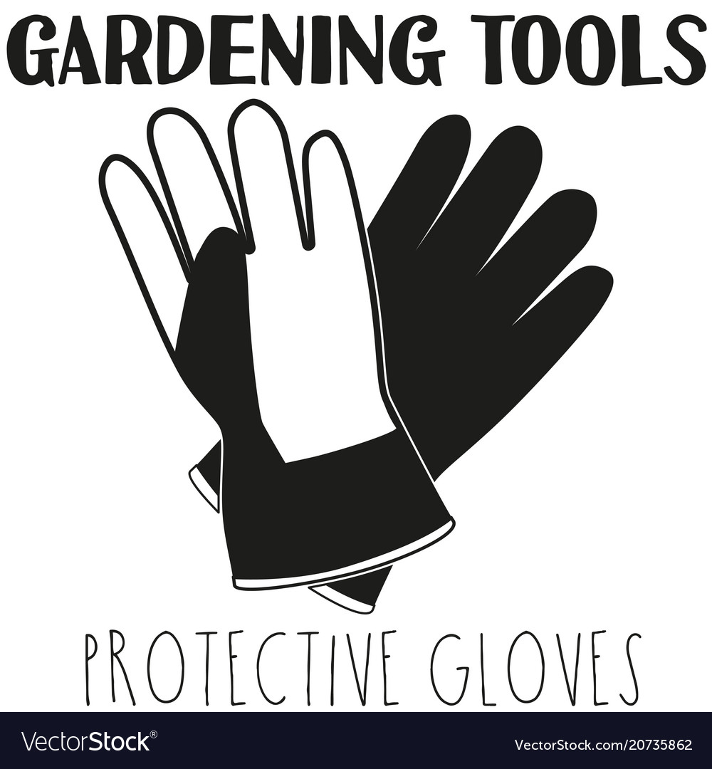black and white protective gloves silhouette vector image