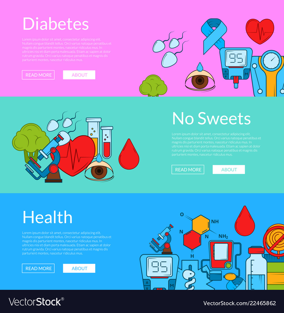 Colored diabetes icons web banner templates