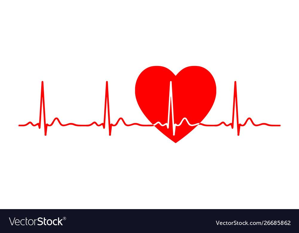 Ecg line heart beat monitor pulse line art