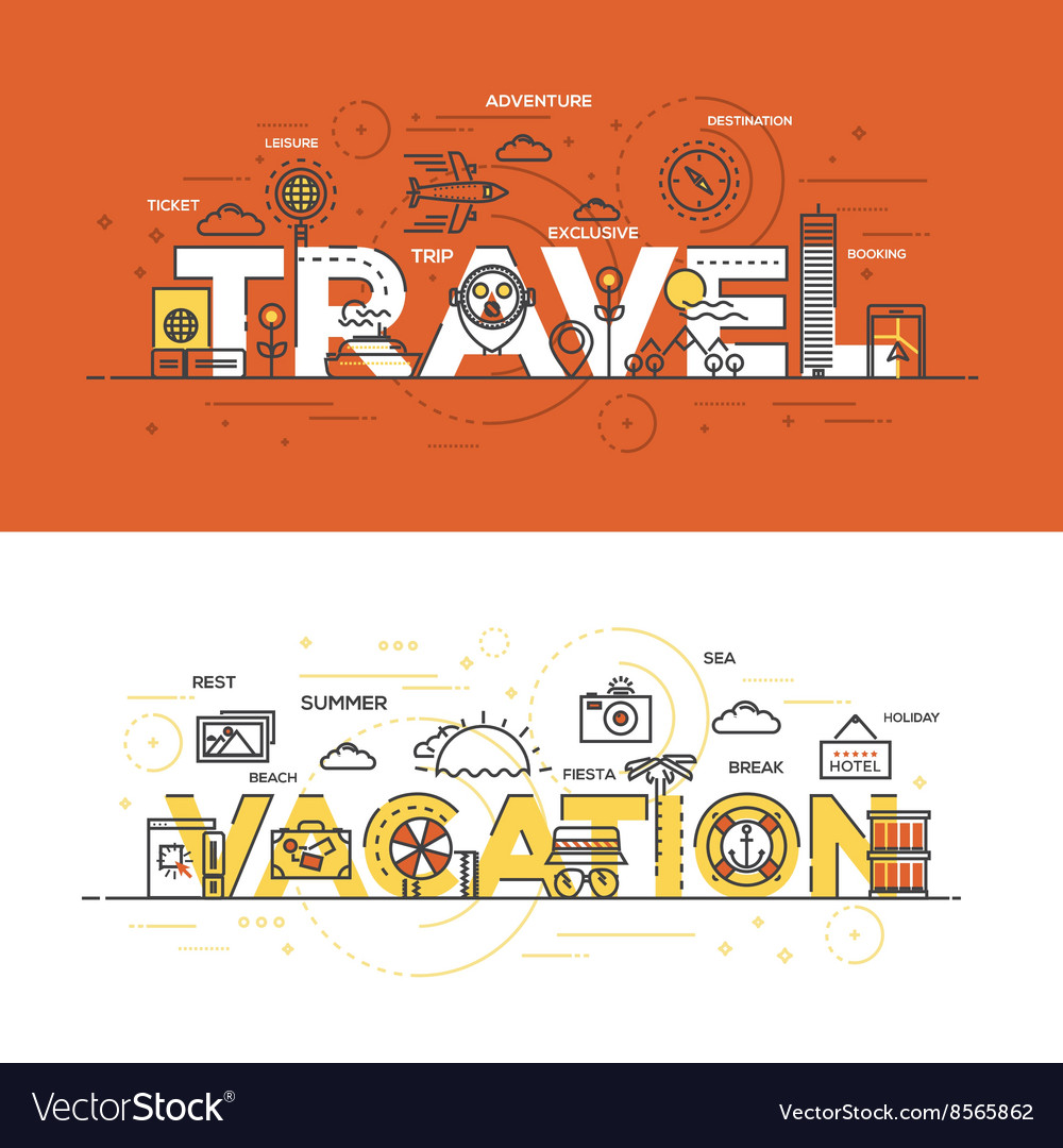 Flat design line concept banner Travel