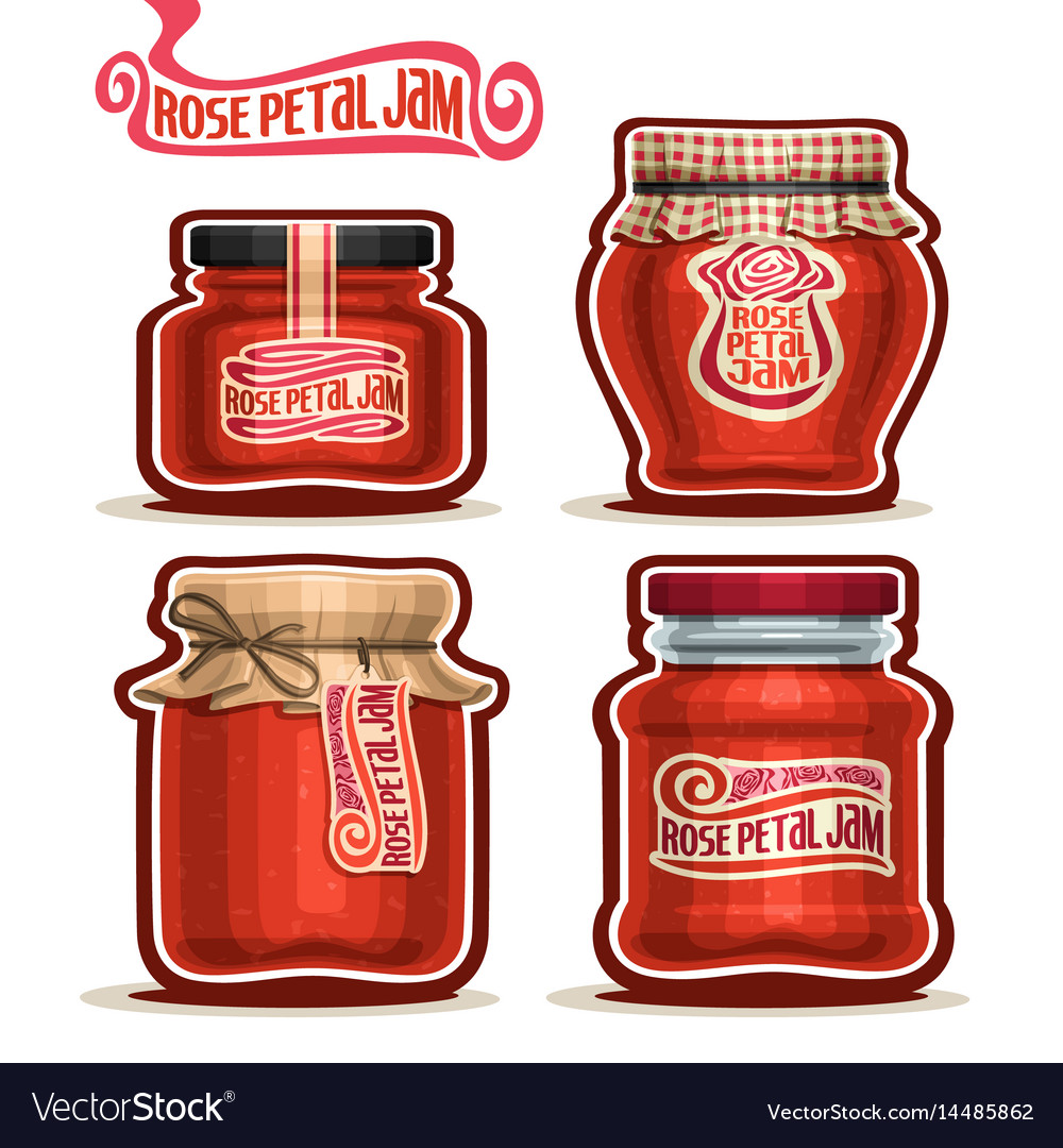 Rose petal jam in jars