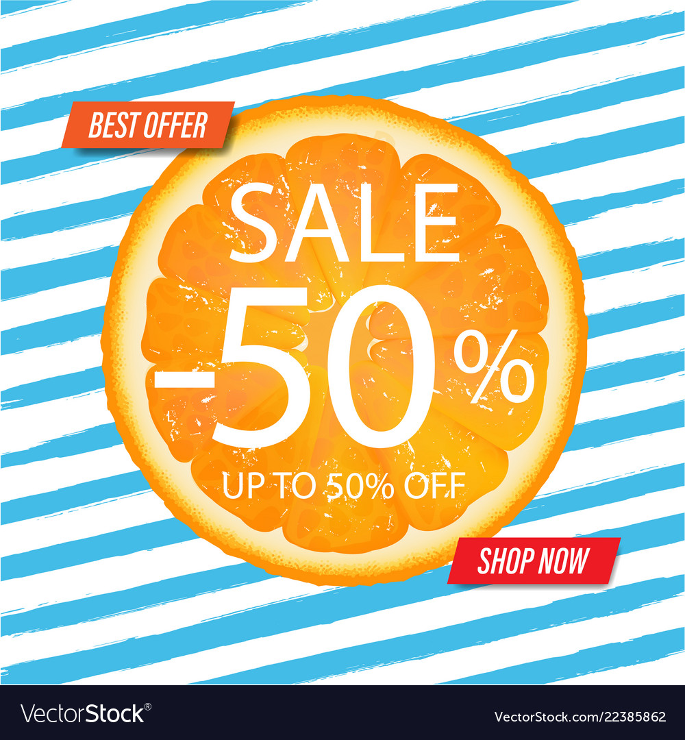 Sale banner with blue background with watercolor