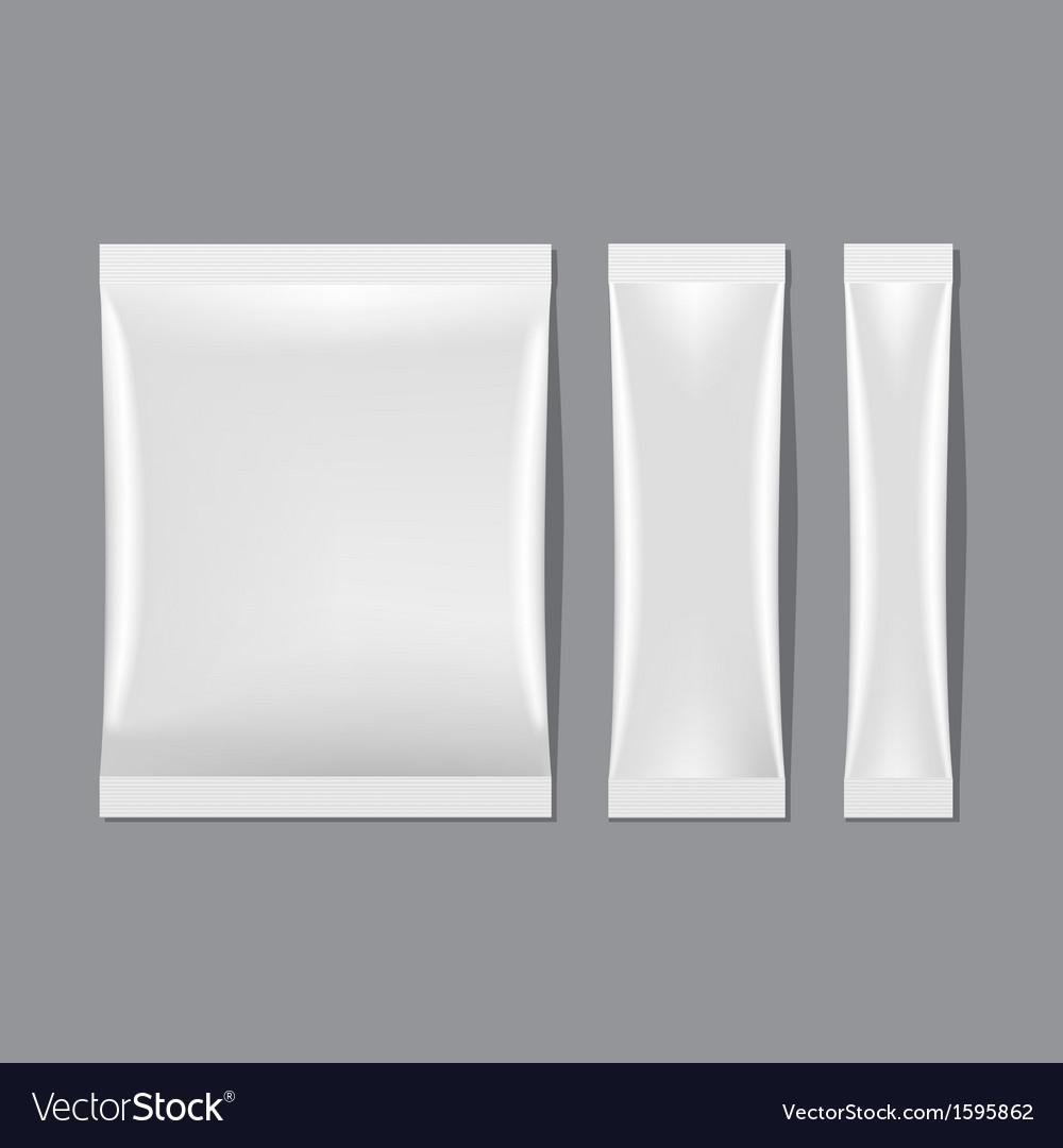 Set of White Blank Sachet Packaging