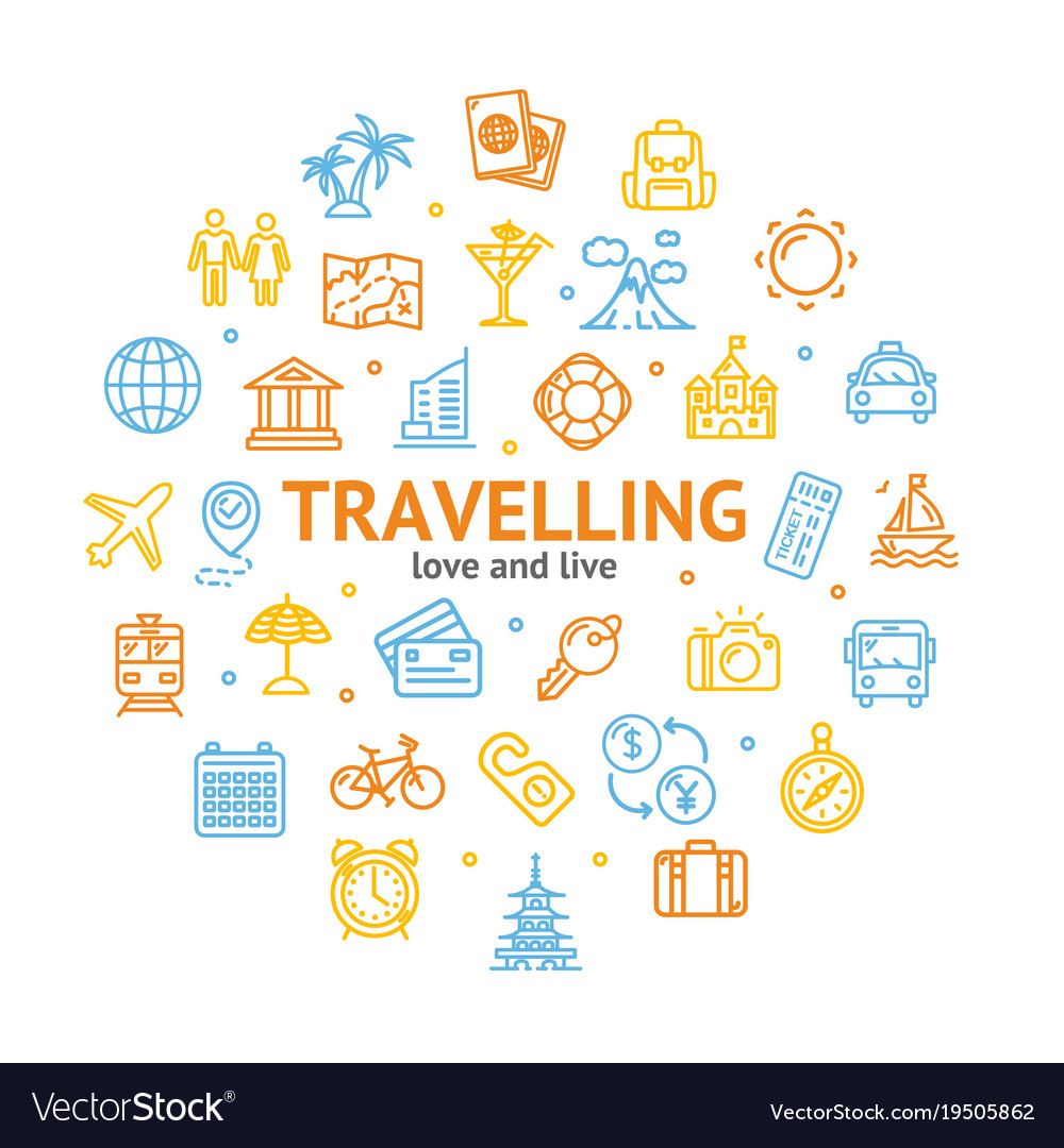 travel and tourism round design template line icon