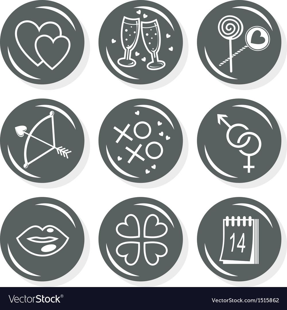 Valentines day love icon set