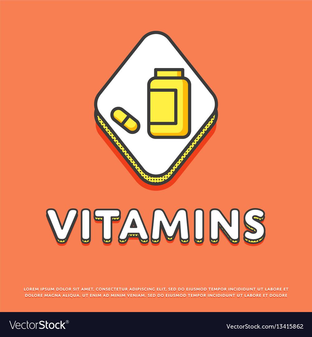 Vitamins colour icon in line design