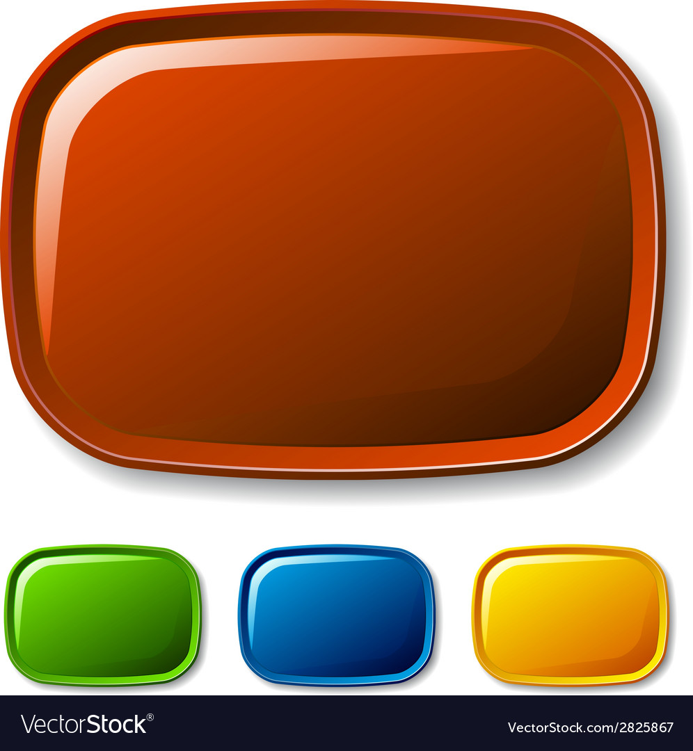 Blank rounded glossy buttons vector image