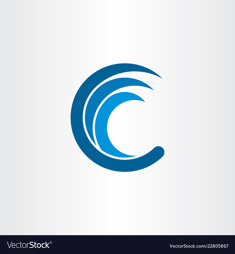 C letter logo water wave blue icon