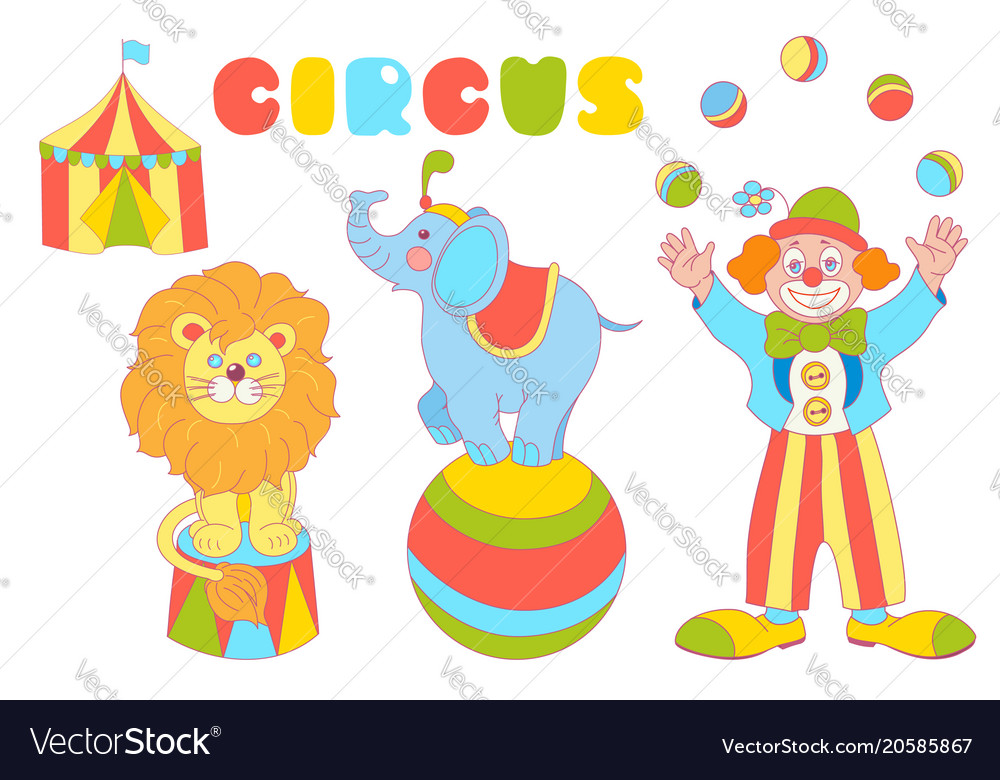 circus characters clown elephant lion set vector image
