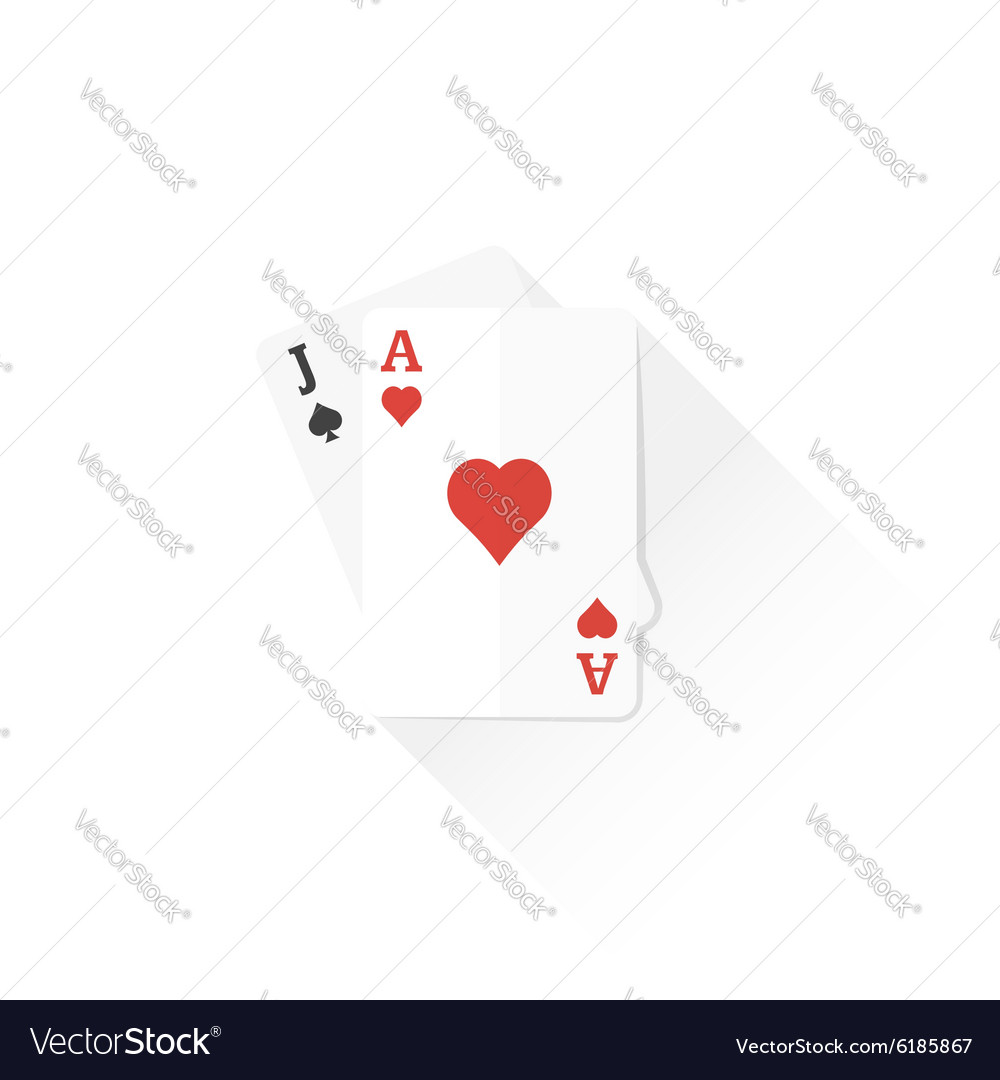 Color playing cards black jack combination icon
