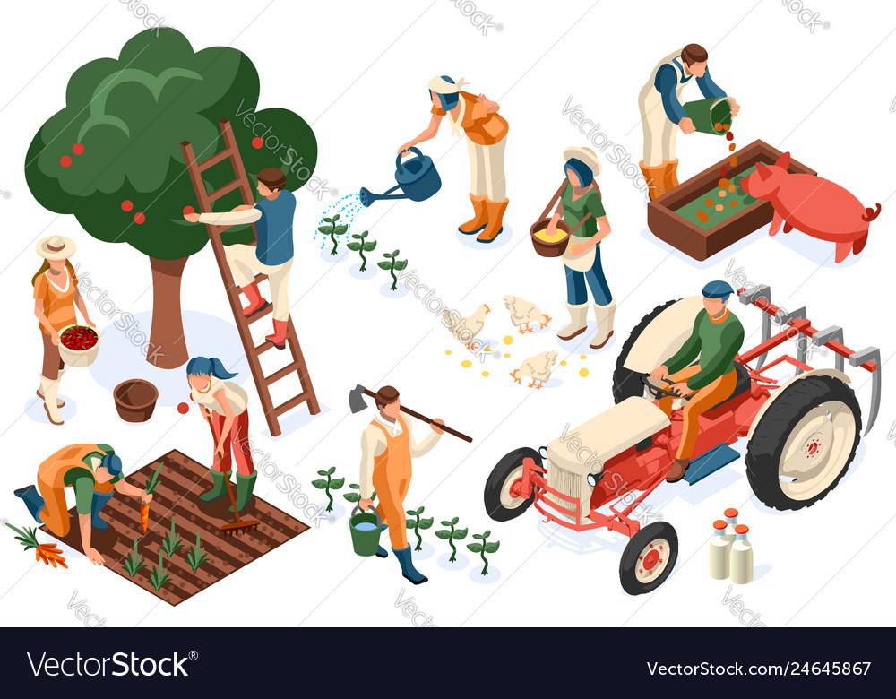 Flat tractor set farmer