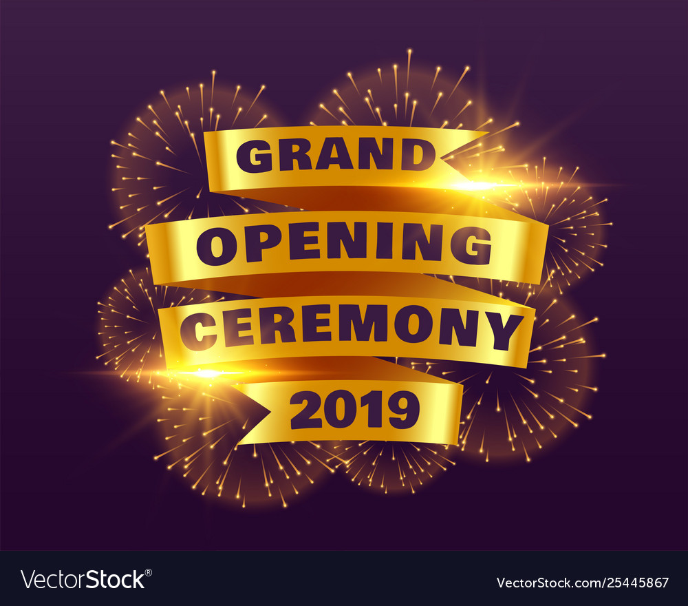 Grand opening ceremony banner with golden ribbon