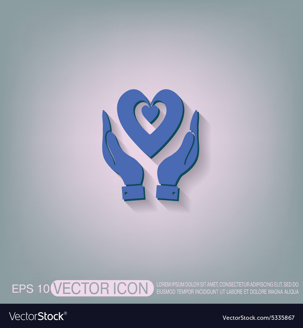 Hand holding a heart icon isolated symbol