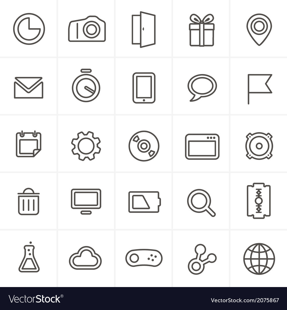 Modern web icons collection isolated on whit vector image
